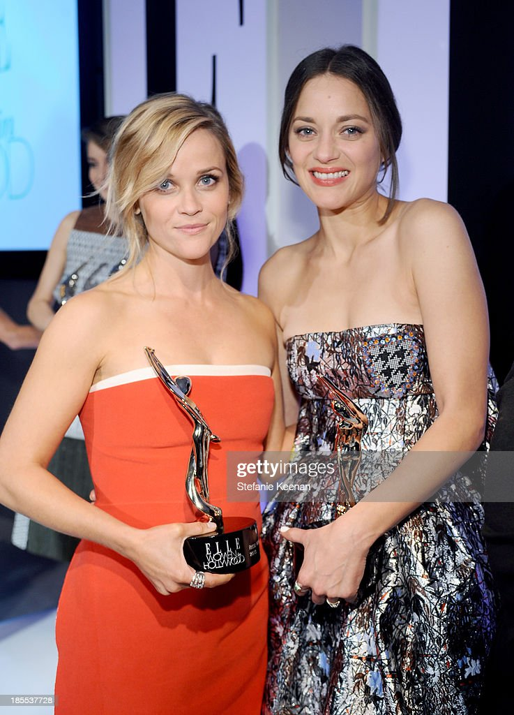 Honorees <a gi-track='captionPersonalityLinkClicked' href=/galleries/search?phrase=Reese+Witherspoon&family=editorial&specificpeople=201577 ng-click='$event.stopPropagation()'>Reese Witherspoon</a> and <a gi-track='captionPersonalityLinkClicked' href=/galleries/search?phrase=Marion+Cotillard&family=editorial&specificpeople=215303 ng-click='$event.stopPropagation()'>Marion Cotillard</a> attend ELLE's 20th Annual Women In Hollywood Celebration at Four Seasons Hotel Los Angeles at Beverly Hills on October 21, 2013 in Beverly Hills, California.