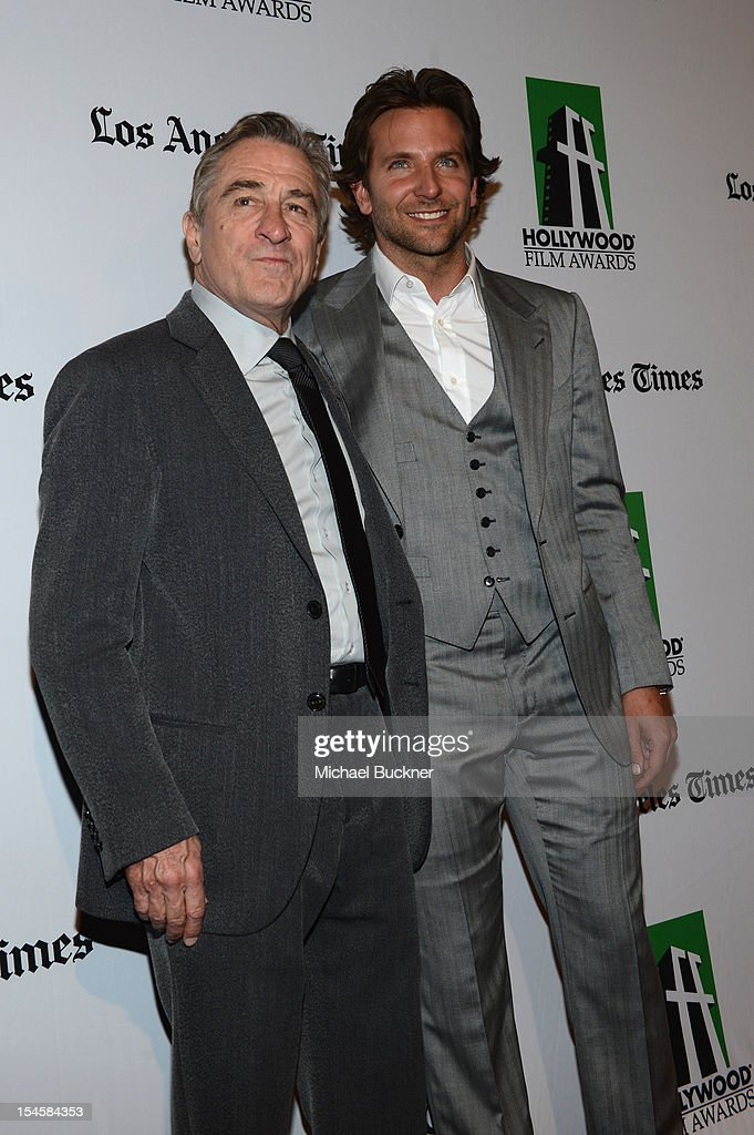 Honorees Robert DeNiro and <a gi-track='captionPersonalityLinkClicked' href=/galleries/search?phrase=Bradley+Cooper&family=editorial&specificpeople=680224 ng-click='$event.stopPropagation()'>Bradley Cooper</a> arrive at the 16th Annual Hollywood Film Awards Gala presented by The Los Angeles Times held at The Beverly Hilton Hotel on October 22, 2012 in Beverly Hills, California.