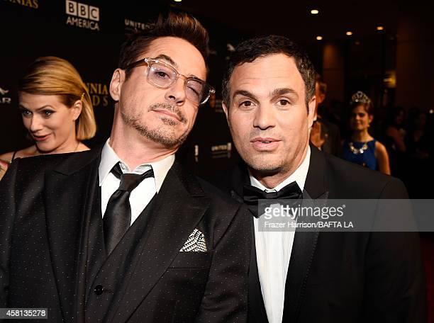Honorees Robert Downey Jr and Mark Ruffalo attend the BAFTA Los Angeles Jaguar Britannia Awards presented by BBC America and United Airlines at The...