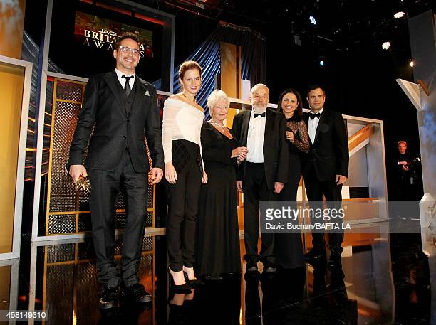 Honorees Robert Downey Jr Emma Watson Dame Judi Dench Mike Leigh OBE Julia LouisDreyfus and Mark Ruffalo pose onstage at the BAFTA Los Angeles Jaguar...