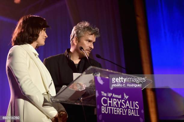 Honorees Rosetta Getty and Balthazar Getty accept the Spirit of Chrysalis Award onstage at the 16th Annual Chrysalis Butterfly Ball on June 3 2017 in...