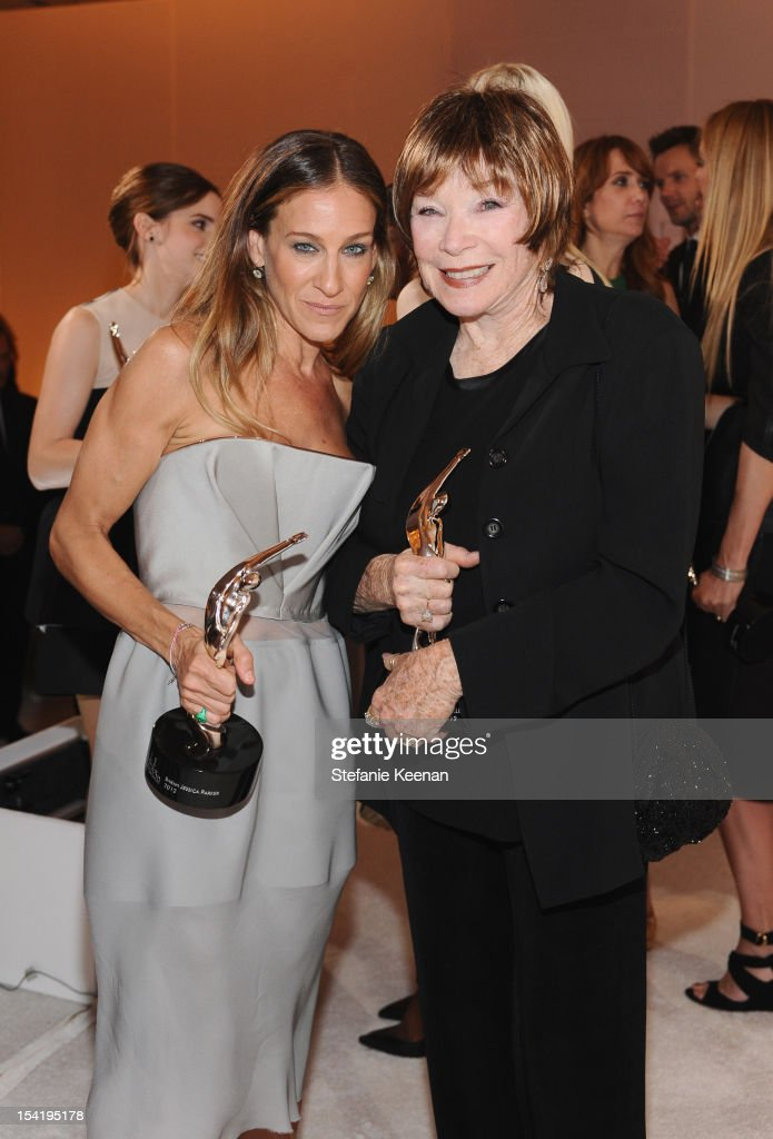 Honorees <a gi-track='captionPersonalityLinkClicked' href=/galleries/search?phrase=Sarah+Jessica+Parker&family=editorial&specificpeople=201693 ng-click='$event.stopPropagation()'>Sarah Jessica Parker</a> (L) and <a gi-track='captionPersonalityLinkClicked' href=/galleries/search?phrase=Shirley+MacLaine&family=editorial&specificpeople=204788 ng-click='$event.stopPropagation()'>Shirley MacLaine</a> attend ELLE's 19th Annual Women In Hollywood Celebration at the Four Seasons Hotel on October 15, 2012 in Beverly Hills, California.