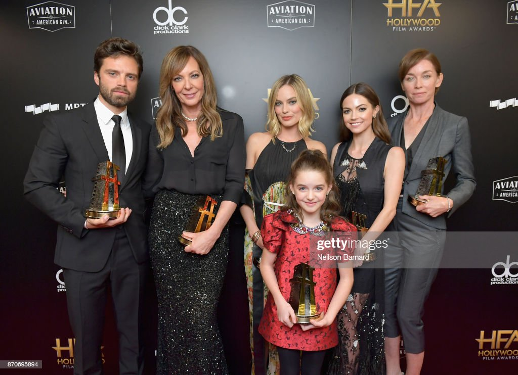 Honorees Sebastian Stan, Allison Janney, Margot Robbie, Mckenna Grace, Caitlin Carver, and Julianne Nicholson, recipients of the Hollywood Ensemble Award for 'I, Tonya,' pose in the press room during the 21st Annual Hollywood Film Awards at The Beverly Hilton Hotel on November 5, 2017 in Beverly Hills, California.