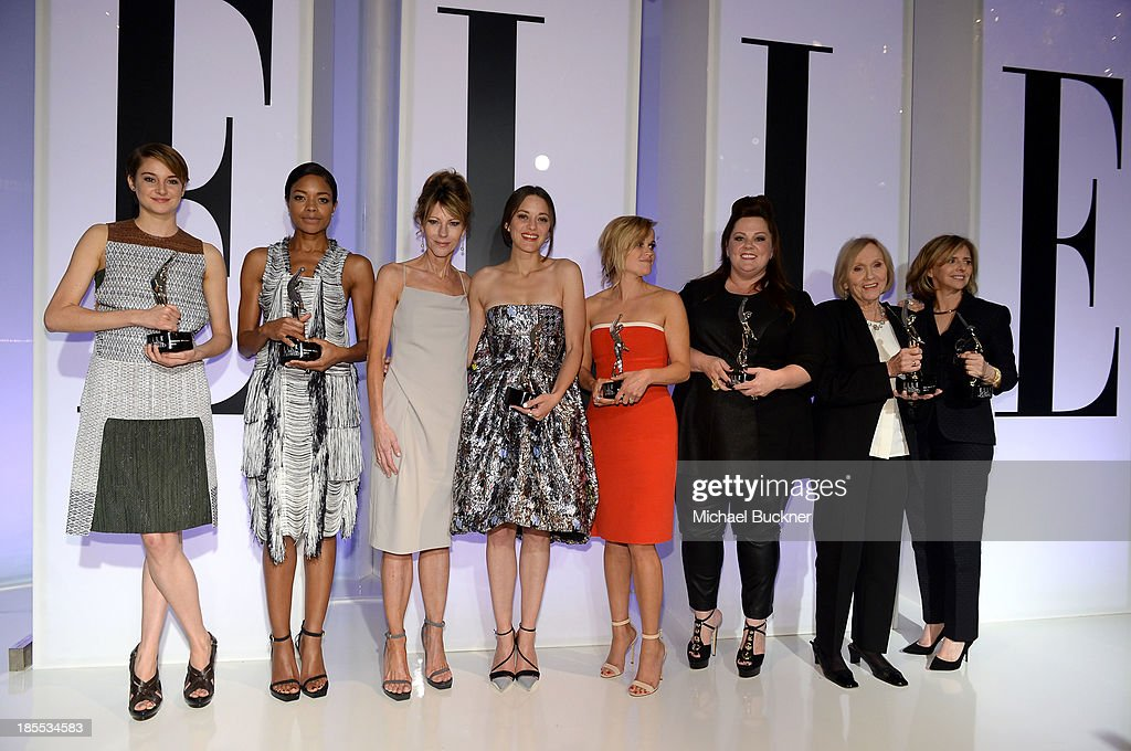 Honorees Shailene Woodley and Naomie Harris, ELLE Editor in Chief Robbie Myers and honorees Marion Cotillard, Reese Witherspoon, Melissa McCarthy, Eva Marie Saint and Nancy Meyers pose with award onstage at ELLE's 20th Annual Women In Hollywood Celebration at Four Seasons Hotel Los Angeles at Beverly Hills on October 21, 2013 in Beverly Hills, California.