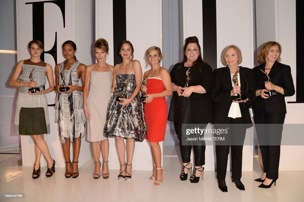 Honorees <a gi-track='captionPersonalityLinkClicked' href=/galleries/search?phrase=Shailene+Woodley&family=editorial&specificpeople=676833 ng-click='$event.stopPropagation()'>Shailene Woodley</a> and <a gi-track='captionPersonalityLinkClicked' href=/galleries/search?phrase=Naomie+Harris&family=editorial&specificpeople=238918 ng-click='$event.stopPropagation()'>Naomie Harris</a>, ELLE Editor in Chief <a gi-track='captionPersonalityLinkClicked' href=/galleries/search?phrase=Robbie+Myers&family=editorial&specificpeople=2260300 ng-click='$event.stopPropagation()'>Robbie Myers</a> and honorees <a gi-track='captionPersonalityLinkClicked' href=/galleries/search?phrase=Marion+Cotillard&family=editorial&specificpeople=215303 ng-click='$event.stopPropagation()'>Marion Cotillard</a>, <a gi-track='captionPersonalityLinkClicked' href=/galleries/search?phrase=Reese+Witherspoon&family=editorial&specificpeople=201577 ng-click='$event.stopPropagation()'>Reese Witherspoon</a>, <a gi-track='captionPersonalityLinkClicked' href=/galleries/search?phrase=Melissa+McCarthy&family=editorial&specificpeople=880291 ng-click='$event.stopPropagation()'>Melissa McCarthy</a>, <a gi-track='captionPersonalityLinkClicked' href=/galleries/search?phrase=Eva+Marie+Saint&family=editorial&specificpeople=208200 ng-click='$event.stopPropagation()'>Eva Marie Saint</a> and <a gi-track='captionPersonalityLinkClicked' href=/galleries/search?phrase=Nancy+Meyers&family=editorial&specificpeople=240098 ng-click='$event.stopPropagation()'>Nancy Meyers</a> pose with award onstage at ELLE's 20th Annual Women In Hollywood Celebration at Four Seasons Hotel Los Angeles at Beverly Hills on October 21, 2013 in Beverly Hills, California.