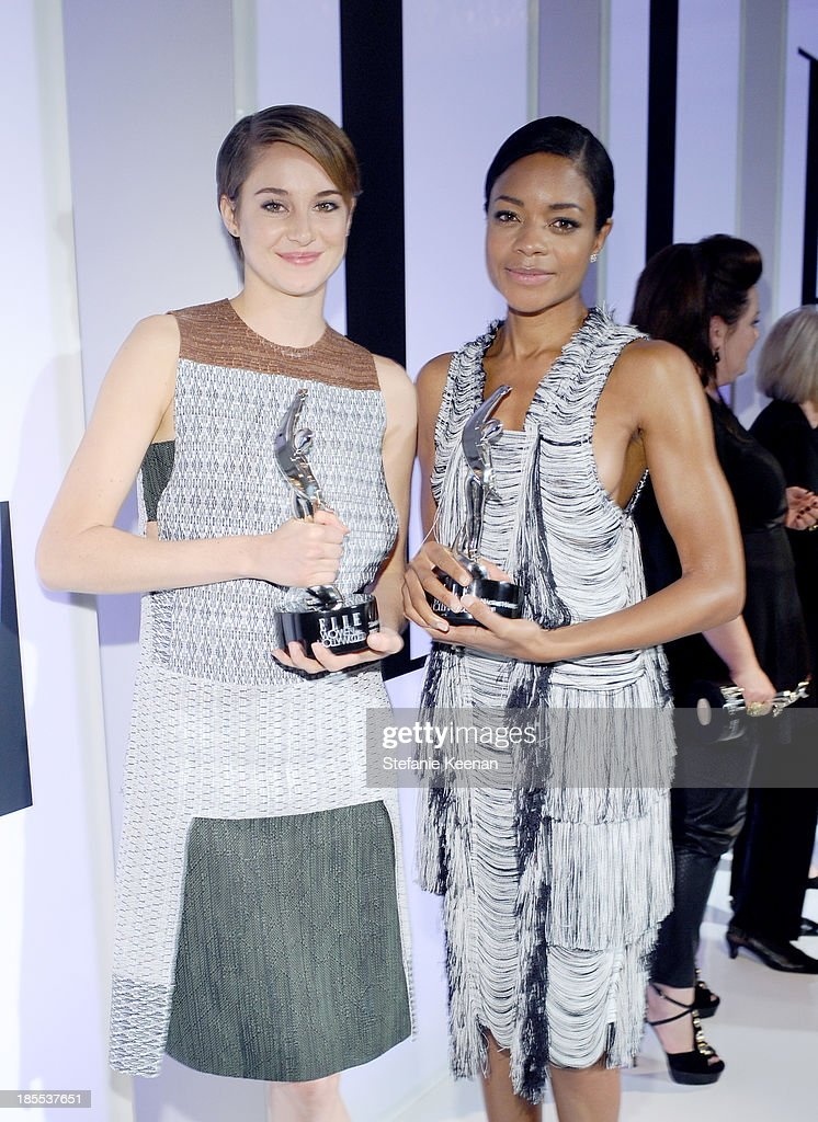 Honorees <a gi-track='captionPersonalityLinkClicked' href=/galleries/search?phrase=Shailene+Woodley&family=editorial&specificpeople=676833 ng-click='$event.stopPropagation()'>Shailene Woodley</a> and <a gi-track='captionPersonalityLinkClicked' href=/galleries/search?phrase=Naomie+Harris&family=editorial&specificpeople=238918 ng-click='$event.stopPropagation()'>Naomie Harris</a> pose with award during ELLE's 20th Annual Women In Hollywood Celebration at Four Seasons Hotel Los Angeles at Beverly Hills on October 21, 2013 in Beverly Hills, California.