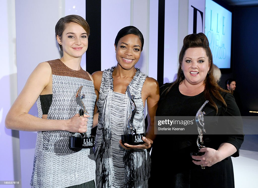 Honorees Shailene Woodley, Naomie Harris and Melissa McCarthy pose with award during ELLE's 20th Annual Women In Hollywood Celebration at Four Seasons Hotel Los Angeles at Beverly Hills on October 21, 2013 in Beverly Hills, California.