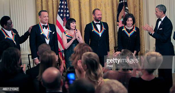 Honorees Singer Al Green actor/producer Tom Hanks ballerina Patricia McBride musician Sting and actress/comedienne Lily Tomlin with President Barack...