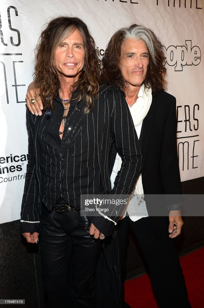 Honorees <a gi-track='captionPersonalityLinkClicked' href=/galleries/search?phrase=Steven+Tyler+-+Musician&family=editorial&specificpeople=202080 ng-click='$event.stopPropagation()'>Steven Tyler</a> and <a gi-track='captionPersonalityLinkClicked' href=/galleries/search?phrase=Joe+Perry+-+Musician&family=editorial&specificpeople=13600677 ng-click='$event.stopPropagation()'>Joe Perry</a> of Aerosmith attend the Songwriters Hall of Fame 44th Annual Induction and Awards Dinner at the New York Marriott Marquis on June 13, 2013 in New York City.