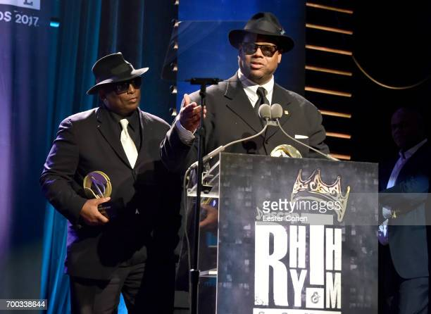 Honorees Terry Lewis and Jimmy Jam accept the Voice of Music Award onstage at the ASCAP 2017 Rhythm Soul Music Awards at the Beverly Wilshire Four...