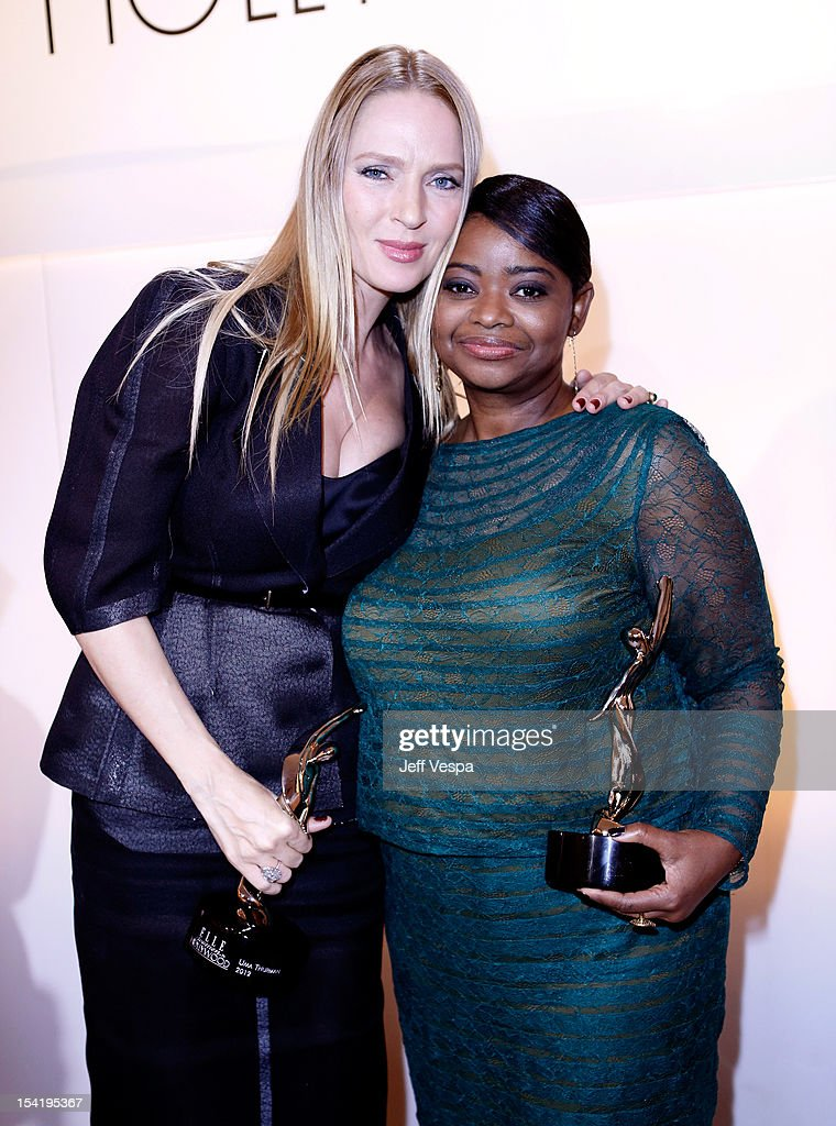 Honorees <a gi-track='captionPersonalityLinkClicked' href=/galleries/search?phrase=Uma+Thurman&family=editorial&specificpeople=171973 ng-click='$event.stopPropagation()'>Uma Thurman</a> and <a gi-track='captionPersonalityLinkClicked' href=/galleries/search?phrase=Octavia+Spencer&family=editorial&specificpeople=2538115 ng-click='$event.stopPropagation()'>Octavia Spencer</a> attend ELLE's 19th Annual Women In Hollywood Celebration at the Four Seasons Hotel on October 15, 2012 in Beverly Hills, California.