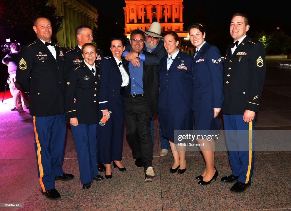 Honorees Vince Gill and Charlie Daniels with the Army/Air Force Choir attends the 2012 Leadership Music Dale Franklin awards at War Memorial...