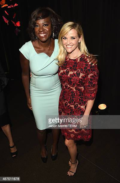 Honorees Viola Davis and Reese Witherspoon attend the 2014 Variety Power of Women presented by Lifetime at Beverly Wilshire Four Seasons on October...