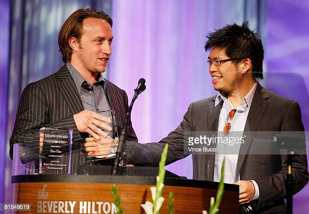 Honorees You Tube creators Chad Hurley and Steven Chen onstage at the 35th Annual Vision Awards presented by Retinitis Pigmentosa International on...
