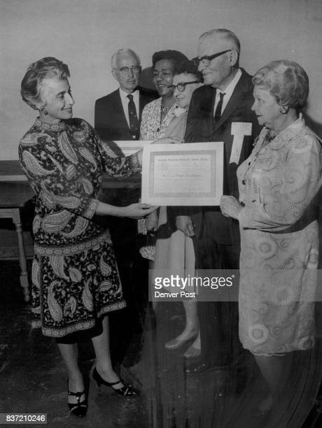 Honors For Individuals and Groups of Senior Citizens Dr Edith Sherman presents citation to Mr and Mrs A C Christensen at the fifth annual luncheon...