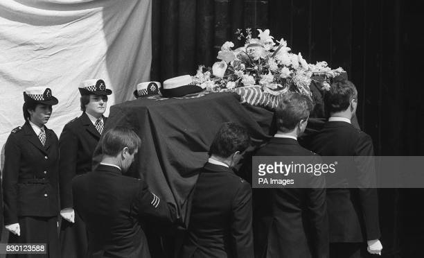 A honour guard of WPC's as the coffin of WPC Yvonne Fletcher is borne into Salisbury Cathedral Yvonne was murdered outside the Libyan People's Bureau...
