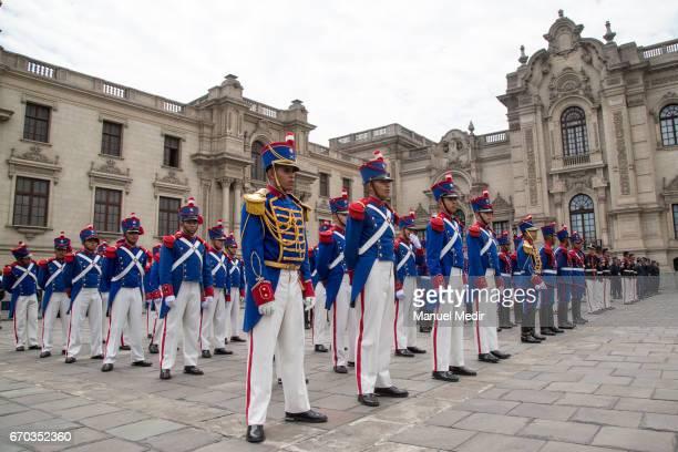 Honour Guard take part at the ceremony where the Peruvian Persident Pedro Pablo Kuczynski with Jorge Nieto Montesinos Defense Minister award the...