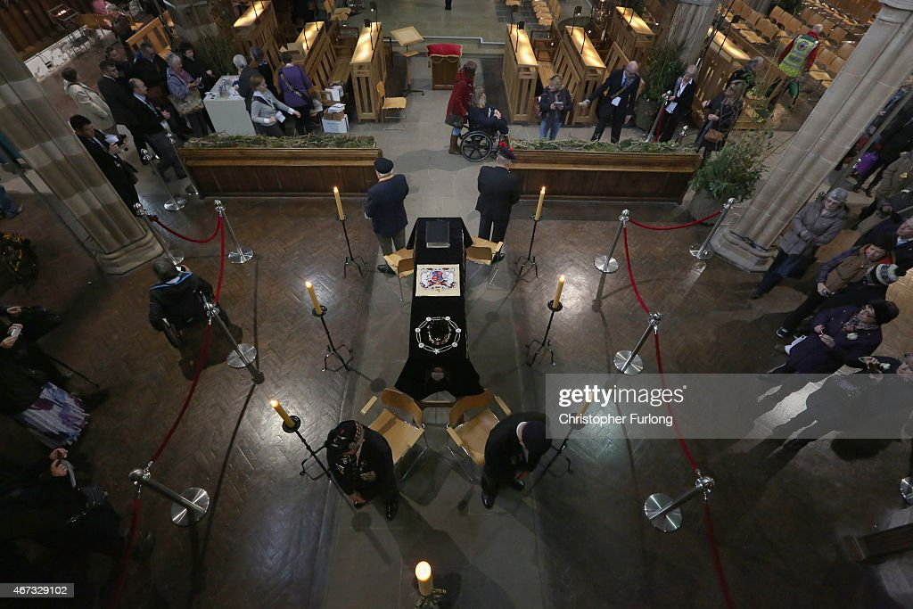 Honour guards by members of the British Legion stand by the coffin of King Richard III as the public view it in repose inside Leicester Cathedral on March 23, 2015 in Leicester, England. The skeleton of King Richard III was discovered in 2012 in the foundations of Greyfriars Church, Leicester, 500 years after he was killed in the Battle of Bosworth Field. Richard III's casket will lie inside Leicester Cathedral for public viewing for three days until 26 March when he will be re-interred during a service attended by members of the royal family.