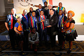 Honourable Fikile Mbalula Minister of Sport and Recreation Government of South Africa hands over the bid to HRH Prince Imran President the...