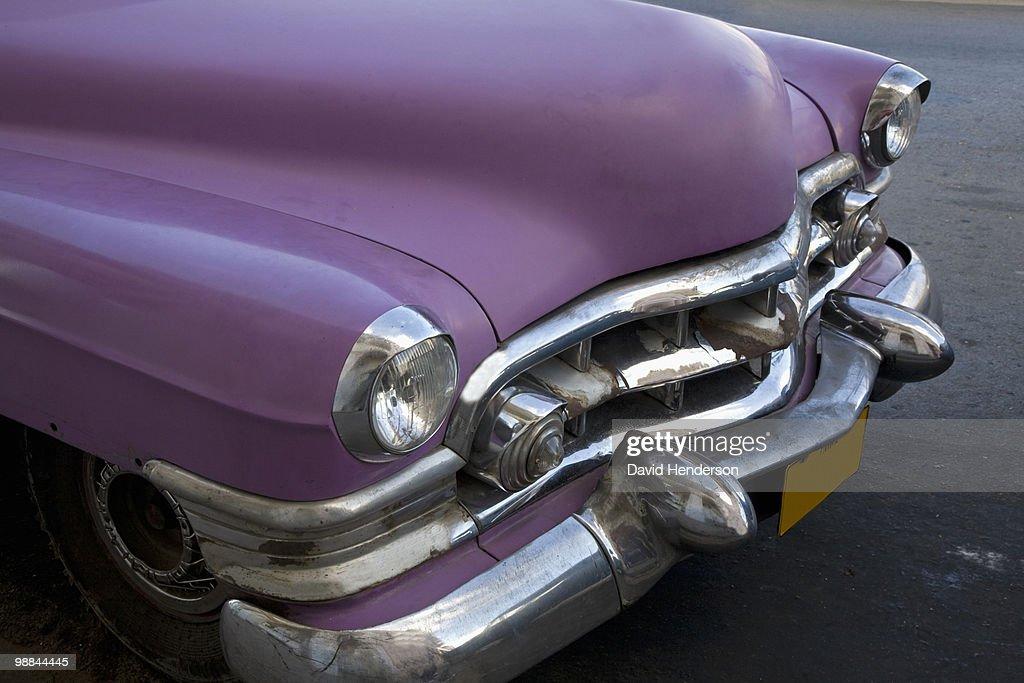 Hood of 1950s purple Cadillac