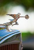 Hood ornament on classic car