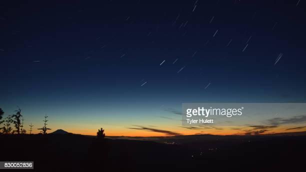 Hood River Lights and Mt. Adams Night Sky Star Trails Over Oregon