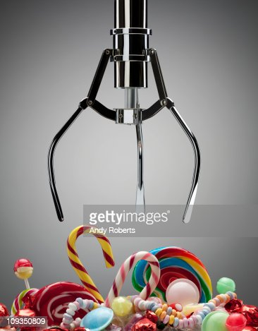 Hook above variety of sweet candies