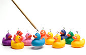 Hooking multi coloured rubber ducks