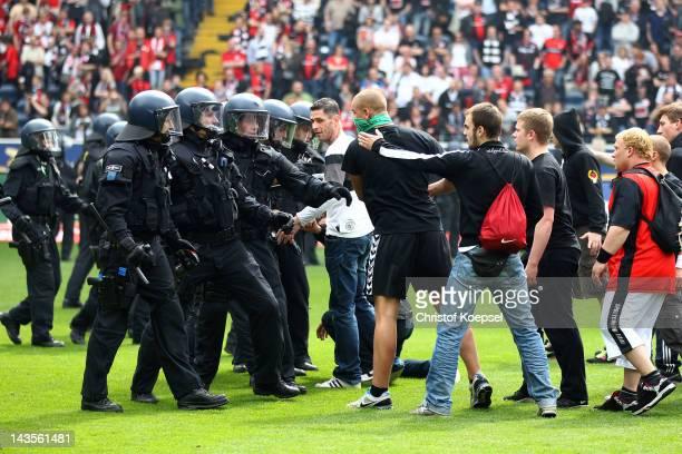 Hooligans of Frankfurt provoke the police after the ascent to the 1 Bundesliga aft the Second Bundesliga match between Eintracht Frankfurt and 1860...