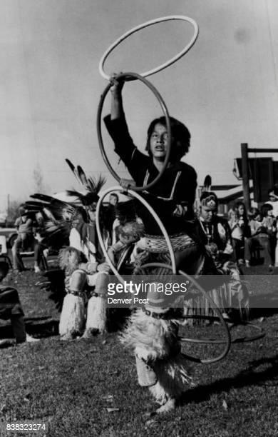 """111981 NOV 4 1981 """"Hoop Dance"""" Dennis Alley Jr age 11 Credit The Denver Post"""