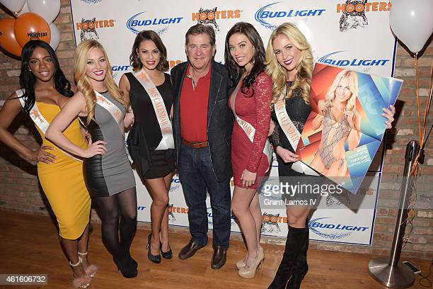 Hooters Calendar girls Alicia Williams Ashley Dill Nicol Osorio Hooters founder Ed Droste Nicole Siglar and Emily Phelps attend Hooters Manhattan VIP...