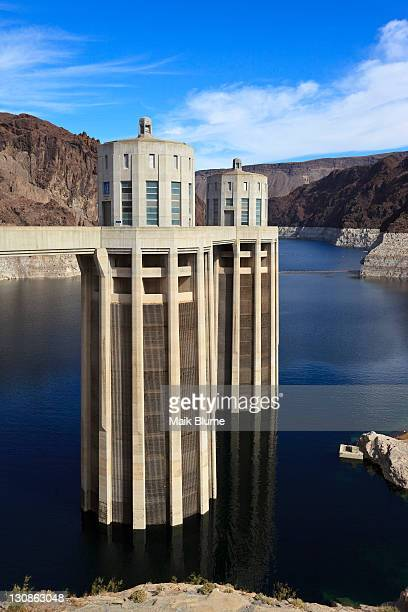 Hoover Dam near Las Vegas, the water level having already dropped by about 30 m, Boulder City, historically Junction City, Nevada, USA, North America