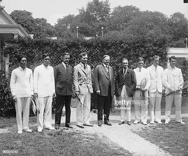 Hoover with Japanese American Davis Cup teams