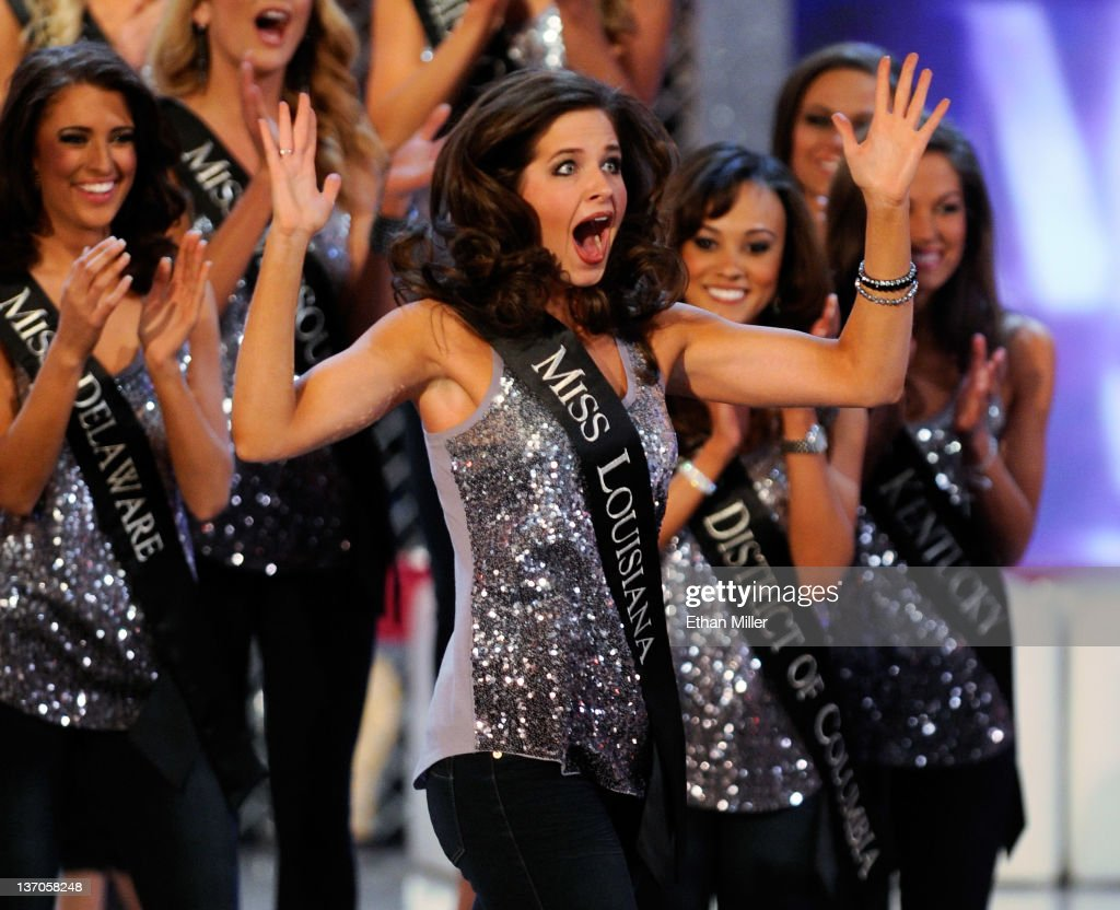 Hope Anderson, Miss Louisiana, reacts after being named a top 15 finalist during the 2012 Miss America Pageant at the Planet Hollywood Resort & Casino January 14, 2012 in Las Vegas, Nevada.