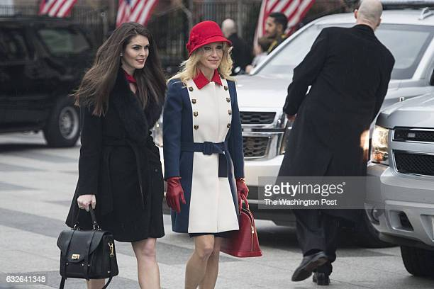 Hope Hicks and Kellyanne Conway depart the Blair House as he heads to a morning worship service on Inauguration day at St John's Episcopal Church in...