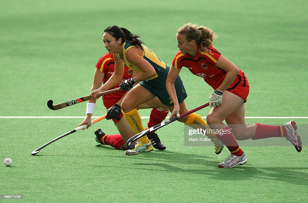 Hope Muno Of The Hockeyroos Competes For Ball During Womens Hockey Champions Trophy Match