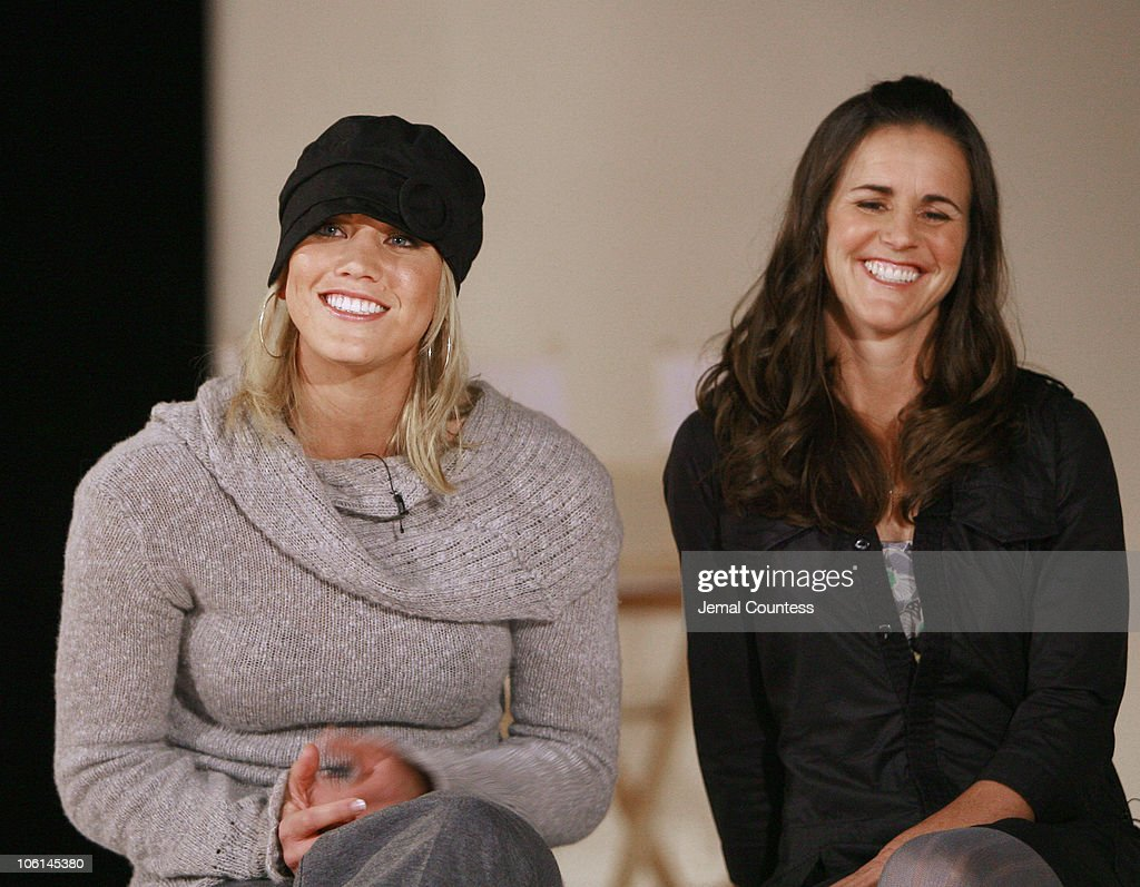 Hope Solo and Brandi Chastain during Press Conference to Announce the Launch of Nike Tailwind Product Line at Lotus Space in New York City, New York, United States.