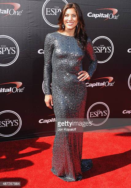 Hope Solo arrives at The 2015 ESPYS at Microsoft Theater on July 15 2015 in Los Angeles California