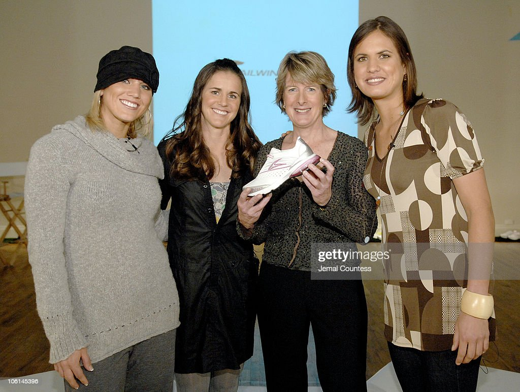 Hope Solo, Brandi Chastain, Clare Hamill, President and CEO of Exeter Brands Group and Logan Tom with the new Nike Tailwind Shoe