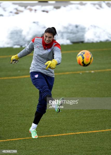 Hope Solo GK with the USA women's soccer team kicks the ball down field during their practice April 3 2014 at the Colorado School of Mines as they...
