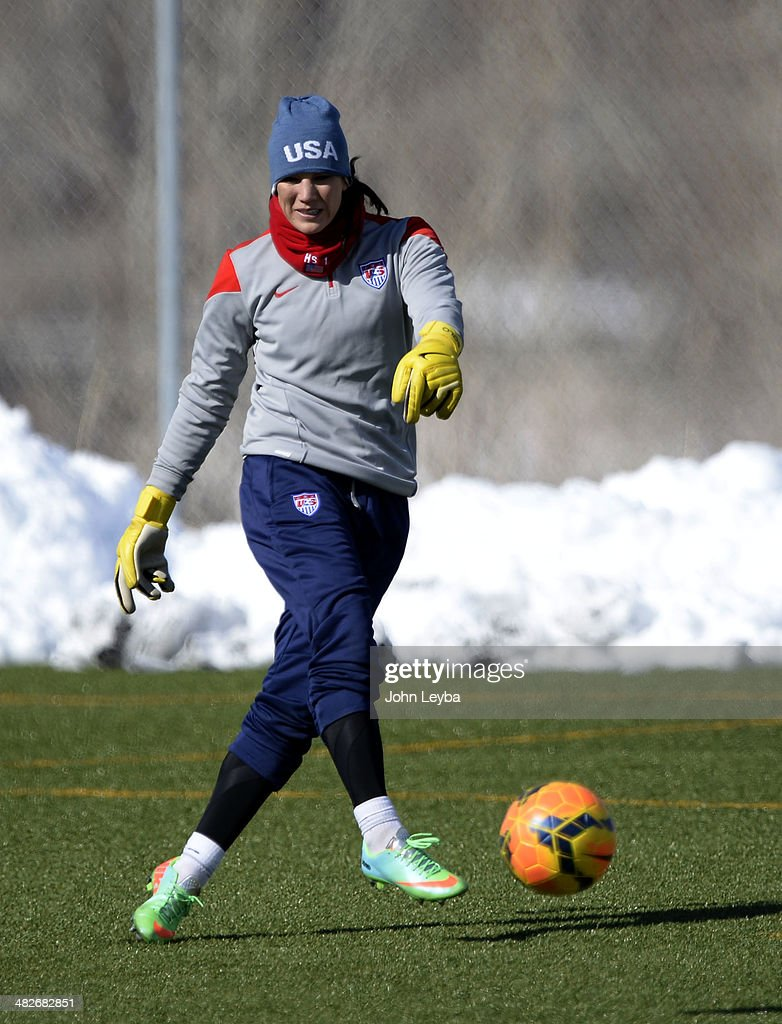 Hope Solo GK with the USA women's soccer team practices April 3 2014 at the Colorado School of Mines as they prepare for their exhibition game...