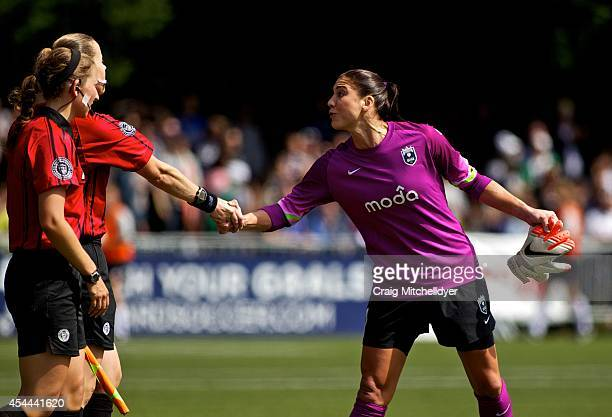Hope Solo of Seattle Reign FC approaches the referees after the National Women's Soccer League Championship against FC Kansas City on August 31 2014...