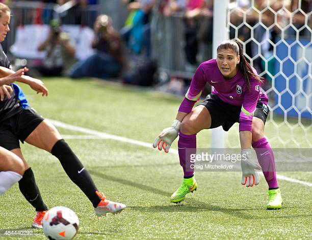 Hope Solo of Seattle Reign FC prepares for a save against FC Kansas City in the second half of the National Women's Soccer League Championship on...