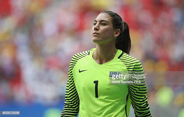 Hope Solo of the United States looks on during the penalty shoot out during the Women's Quarter Final match between United States and Sweden on Day 7...