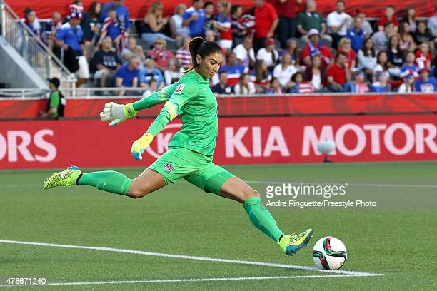 Hope Solo of the United States takes a goal kick in the first half against China in the FIFA Women's World Cup 2015 Quarter Final match at Lansdowne...