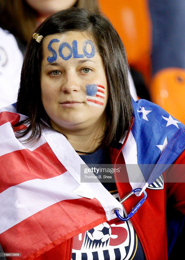 A Hope Solo #1 of the U.S. Women's National Team fan watches in an international friendly game at BBVA Compass Stadium on December 12, 2012 in Houston, Texas. USA won 4 to 0.
