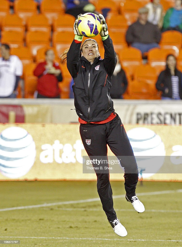 Hope Solo #1 of the U.S. Women's National Team warms up before playing against the China Women's National Team in an international friendly game at BBVA Compass Stadium on December 12, 2012 in Houston, Texas. USA won 4 to 0.