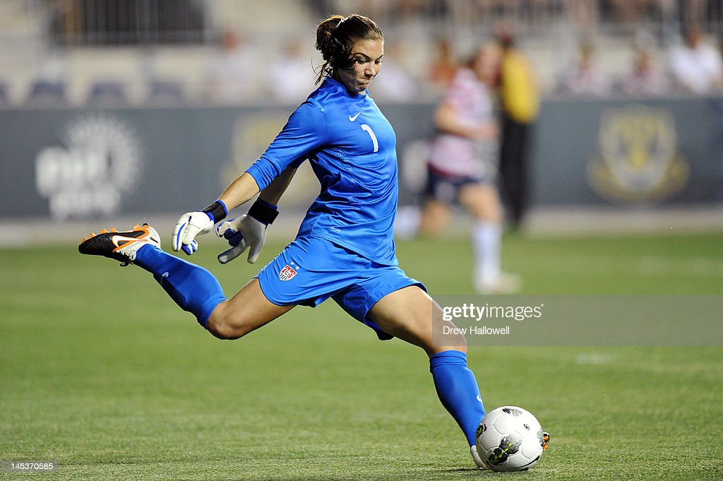 Hope Solo #1 of the USA kicks the ball during the game against China at PPL Park on May 27, 2012 in Chester, Pennsylvania. USA won 4-1.