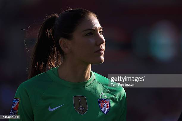 Hope Solo of USA walks off the field during the United States v Mexico Group A 2016 CONCACAF Women's Olympic Qualifying at Toyota Stadium on February...