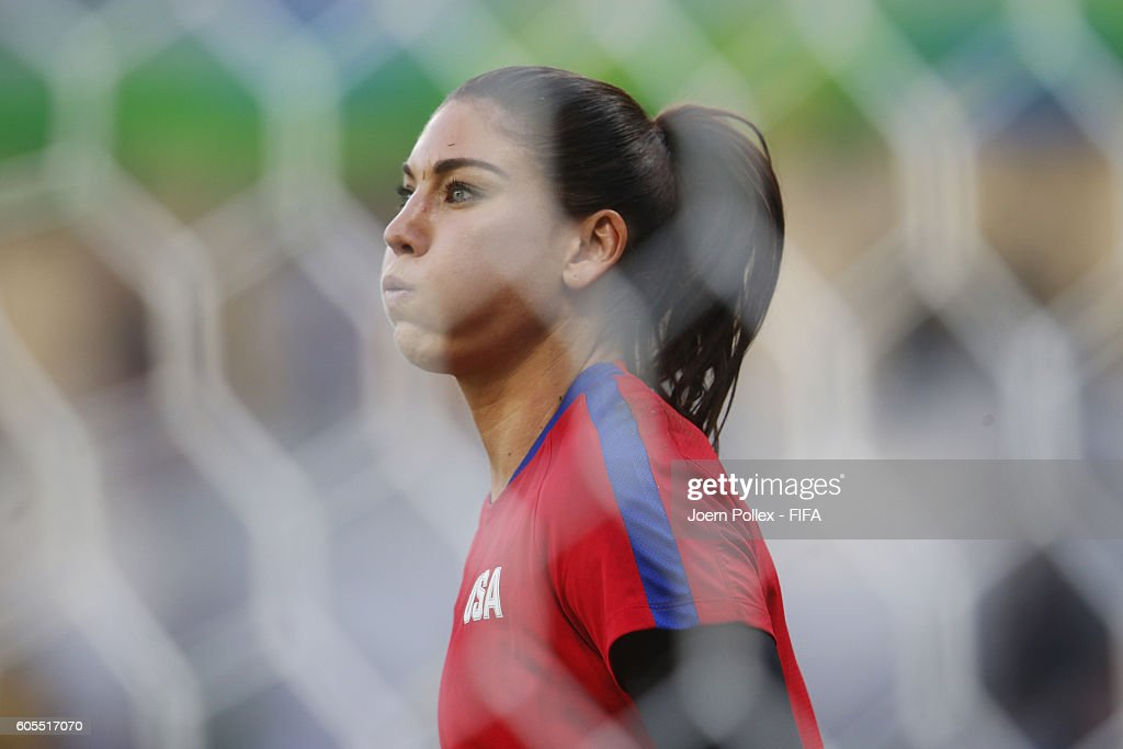 Hope Solo of USA warms up before the Women's Group G match between USA and France on Day 1 of the Rio2016 Olympic Games at Mineirao Stadium on August 6, 2016 in Belo Horizonte, Brazil.